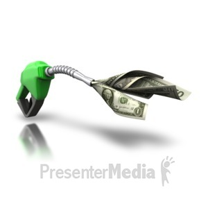 ID# 5630 - Gas Pump Guzzle Your Money - Presentation Clipart
