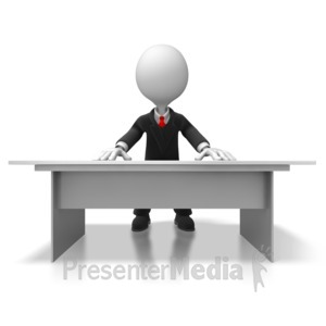 ID# 5634 - Boss Behind Desk - Presentation Clipart