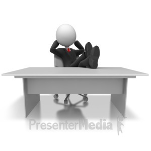 ID# 5638 - Businessman Relax Desk - Presentation Clipart