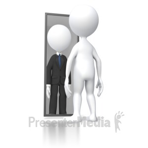ID# 5648 - Looking In Mirror Successful - Presentation Clipart