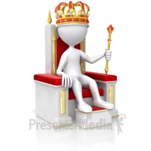 ID# 5650 - Stick Figure King On Throne - Presentation Clipart