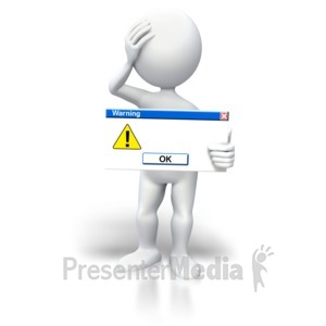 ID# 5651 - Stick Figure Warning Blank Button - Presentation Clipart
