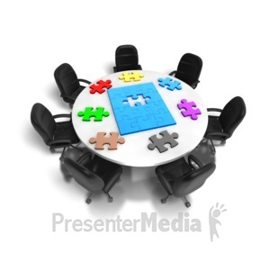 ID# 5661 - Table Of Puzzle Pieces - Presentation Clipart
