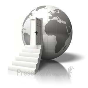 ID# 5701 - Globe Open Door Enter - Presentation Clipart