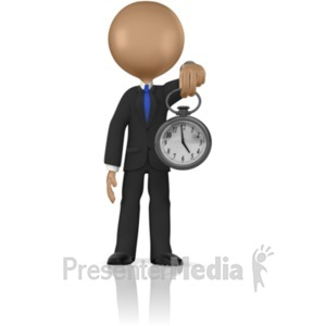ID# 5728 - Boss Holding Out Watch - Presentation Clipart