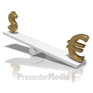ID# 5731 - Dollar Up Euro Down Teeter Totter - Presentation Clipart