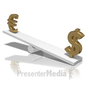 ID# 5732 - Euro Up Dollar Down Teeter Totter - Presentation Clipart
