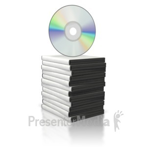 ID# 5738 - DVD Stack with Disc on Top - Presentation Clipart