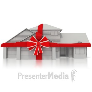 ID# 5739 - Residential Home with a Bow Around It - Presentation Clipart