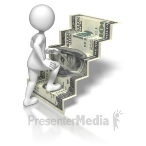 ID# 5749 - Stick Figure Climbing US Money Stairs - Presentation Clipart