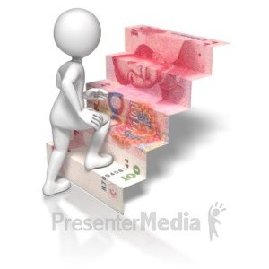ID# 5753 - Stick Figure Climbing Chinese Money Stai - Presentation Clipart