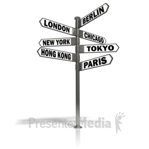 ID# 5764 - Street Sign World Cities - Presentation Clipart