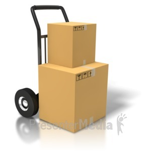 ID# 5808 - Boxes On A Dolly - Presentation Clipart