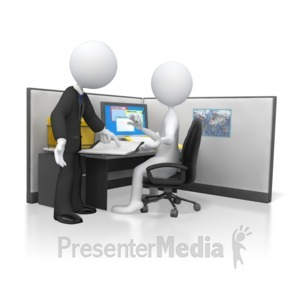 ID# 5819 - Boss Giving Direction on Employees Work - Presentation Clipart