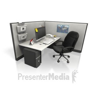 ID# 5821 - Empty Cubicle Angle Two - Presentation Clipart