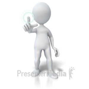 ID# 5825 - Pushing Hologram Button - Presentation Clipart