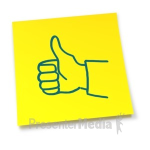 ID# 5835 - Yellow Sticky Note Thumbs Up - Presentation Clipart