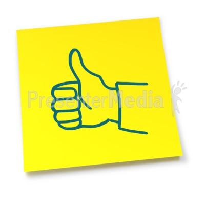 Yellow Sticky Note Thumbs Up PowerPoint Clip Art