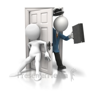 ID# 5846 - Shutting Door on Salesman - Presentation Clipart