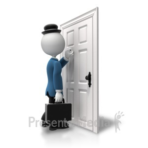 ID# 5849 - Salesman Knocking On Door - Presentation Clipart