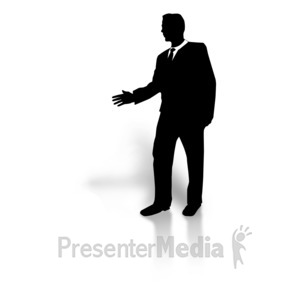 ID# 5854 - Businessman Silhouette Greeting - Presentation Clipart