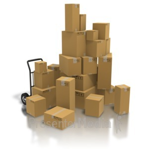 ID# 5860 - Pile Of Shipping Boxes - Presentation Clipart