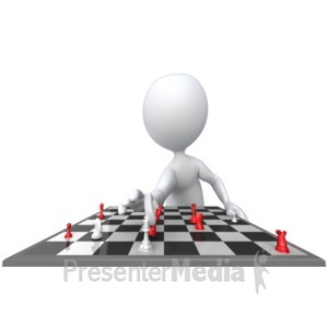 ID# 5868 - Stick Figure Check Mate - Presentation Clipart