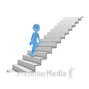 ID# 5873 - Glass Stick Figure Walking Up Stairs - Presentation Clipart