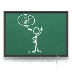 ID# 5874 - Chalk Figure Light bulb Idea - Presentation Clipart