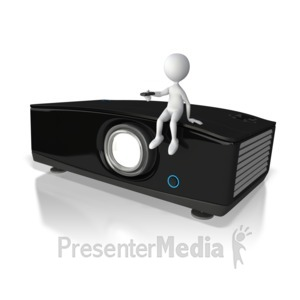 ID# 5886 - Stick Figure Sitting On Projector - Presentation Clipart
