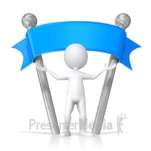 ID# 5888 - Stick Figure Standing Under Blank Sign - Presentation Clipart