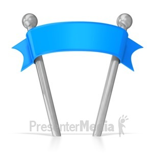 ID# 5890 - Blank Ribbon Banner on Poles - Presentation Clipart