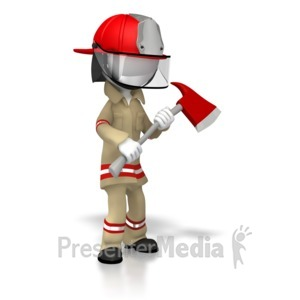 ID# 5894 - Suited Firefighter With Axe - Presentation Clipart