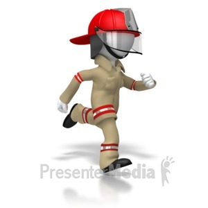 ID# 5899 - Firefighter Running - Presentation Clipart