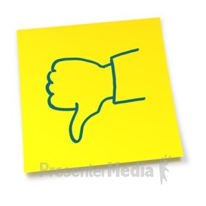 ID# 5912 - Yellow Sticky Note Thumbs Down - Presentation Clipart
