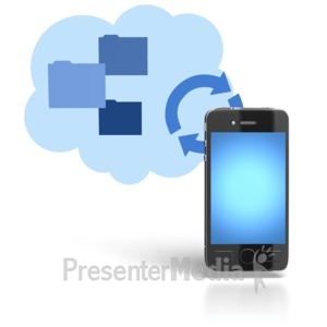 ID# 5919 - Device Syncing to Cloud - Presentation Clipart