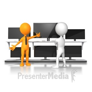 ID# 5926 - stick figure selling merchanise - Presentation Clipart
