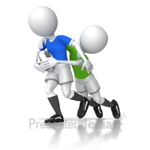 ID# 5972 - Rugby Tackle - Presentation Clipart