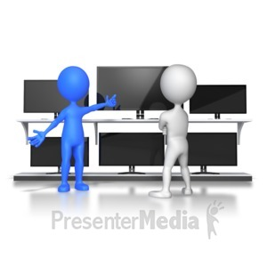 ID# 5981 - stick figure selling TVs - Presentation Clipart