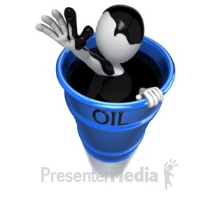 ID# 6052 - Stick Figure In Oil Barrel - Presentation Clipart