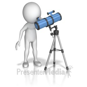 ID# 6055 - Looking Through Telescope - Presentation Clipart