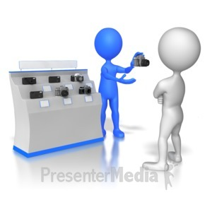 ID# 6057 - Stick Figure Selling Cameras - Presentation Clipart