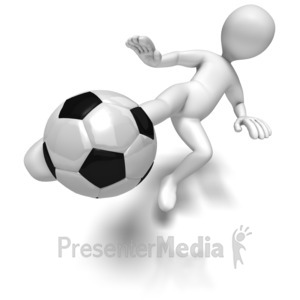 ID# 6087 - Stick Figure Kicking Soccer Ball - Presentation Clipart