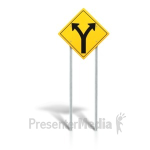 ID# 6217 - Road Sign - Fork in Road - Presentation Clipart