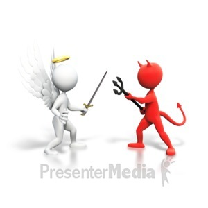 ID# 6236 - Good Vs Evil Fight - Presentation Clipart