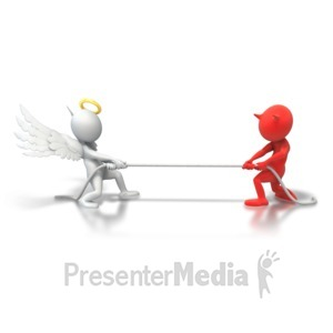 ID# 6239 - Angel Demon Tug Of War - Presentation Clipart