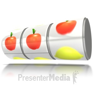 ID# 6247 - Slot Machine Reels Apple Jackpot - Presentation Clipart