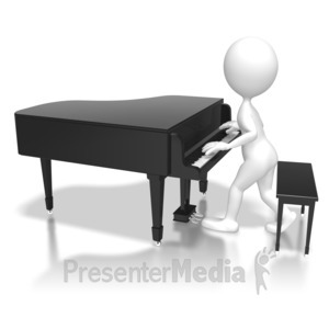 ID# 6263 - Stick Figure Piano Jam - Presentation Clipart