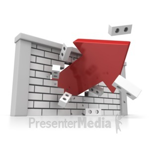 ID# 6283 - Brick Wall Arrow Breakout - Presentation Clipart