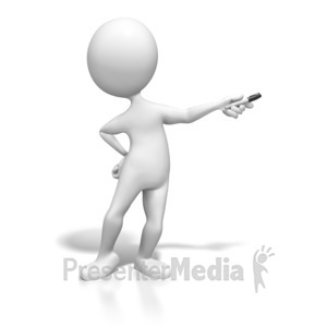ID# 6288 - Stick Figure Presenting With Pen - Presentation Clipart